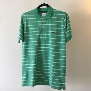 Lacoste Men's Polo Striped Green Size 4 Medium